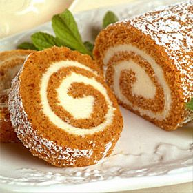 Libby's Pumpkin Roll. Now that I have a new jelly roll pan (courtesy of my sweet, oldest child) I think I will make this at my earliest convenience!