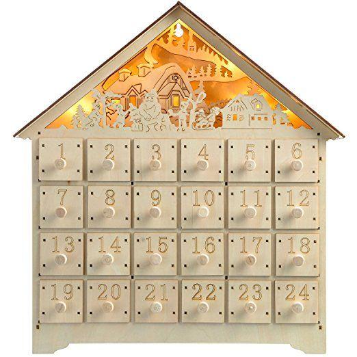 WeRChristmas Pre-Lit Wooden Village Scene Advent Calendar Christmas Decoration, 35 cm - Multi-Colour