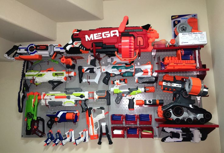 If you have been looking for a great pegboard for Nerf guns then look no further! Wall Control Pegboard works great for Nerf gun pegboard storage and pegboard Nerf blaster wall organization. Get your (or your kid's) Nerf guns up off of the floor, out of the toy chest, and nicely organized on the wall with a Wall Control pegboard organizer for Nerf gun storage. Thanks for another great customer photo!