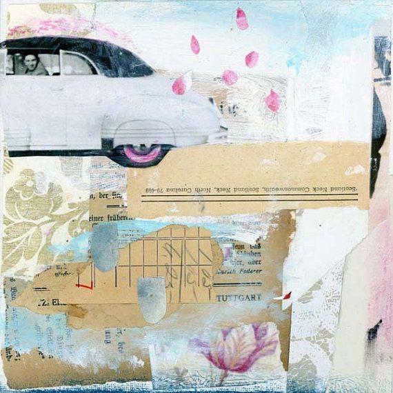Original Collage, Papier-Collage, Mischtechnik-Kunstwerken von Angela Petsis