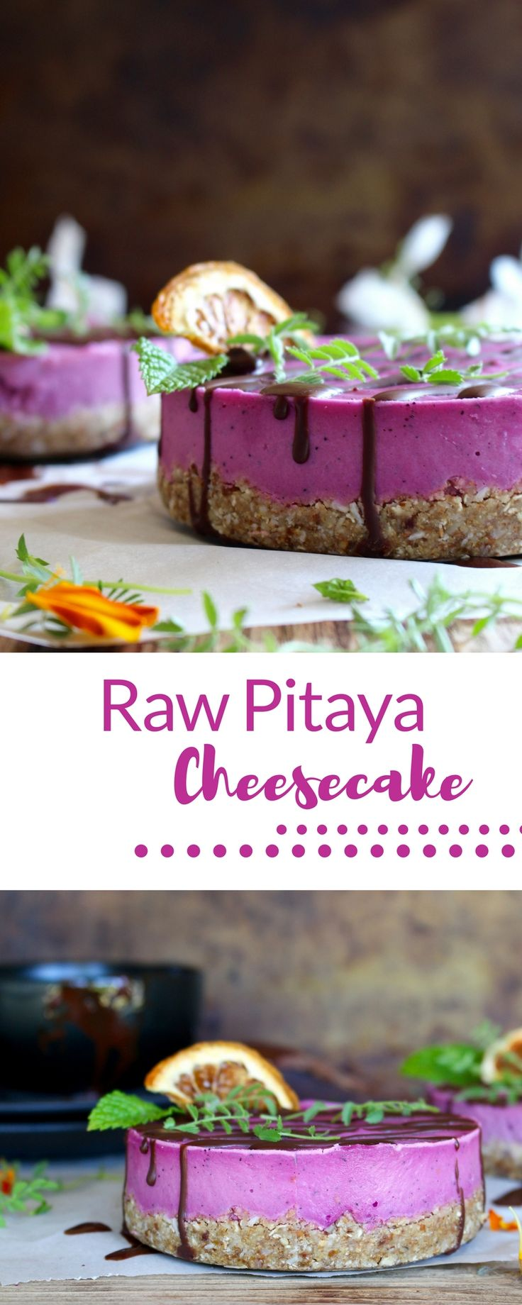 | vegan cheesecake | raw dessert | pink cheesecake || This raw, vegan cheesecake is made using a tiger nut flour base and a raw pitaya filling.  High in antioxidants, easy to make and definitely a crowd pleaser!