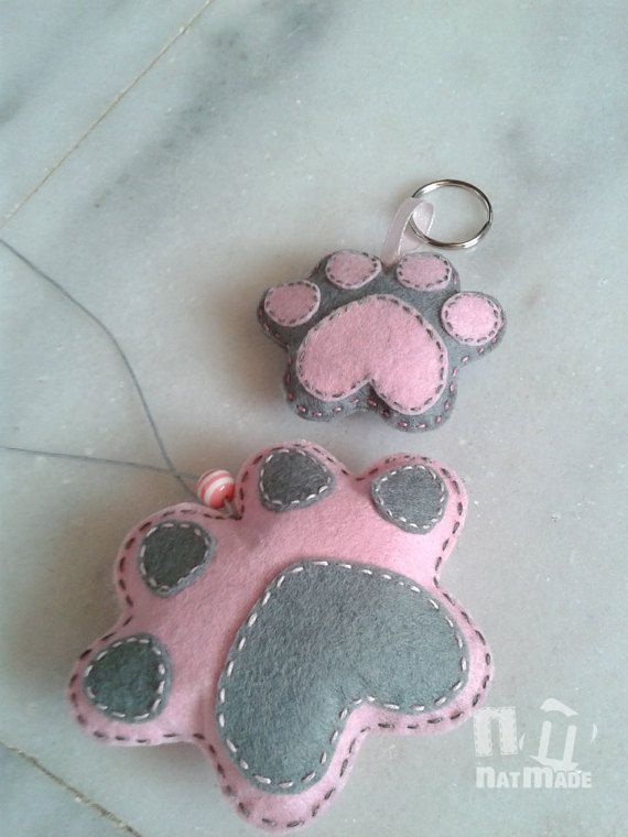 Paw print car mirror charm and keyrings Felt car by NatmadeCrafts