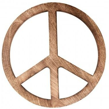 Hippie Chic ★ houten peace teken woondecoratie