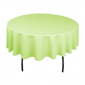 90 Inch Round Polyester Tablecloth Tea Green On A 60 Inch Round Table