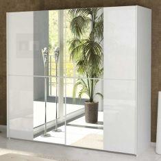 Šatní skříň s posuvnými dveřmi BOLTON bílý lesk