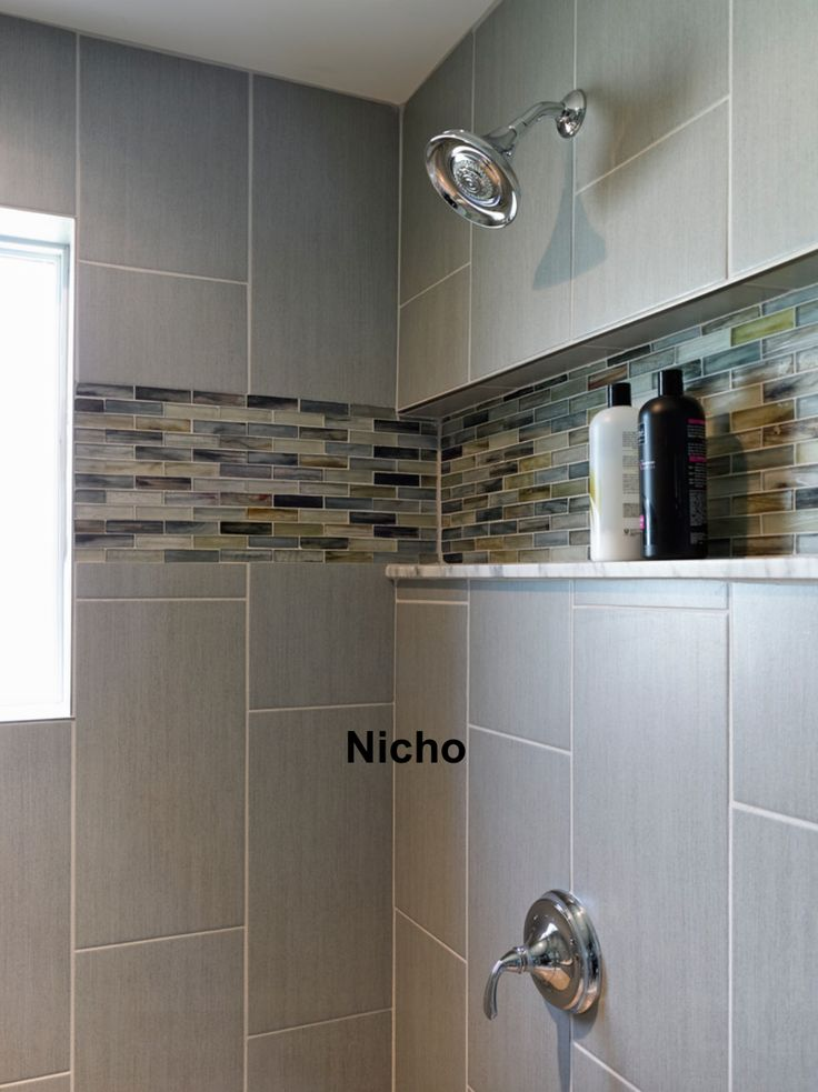 Install a shelf like this in our master bath shower for Masters wall tiles