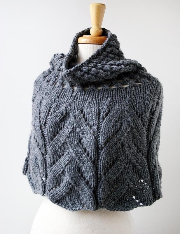 hand-knit organic merino capelet