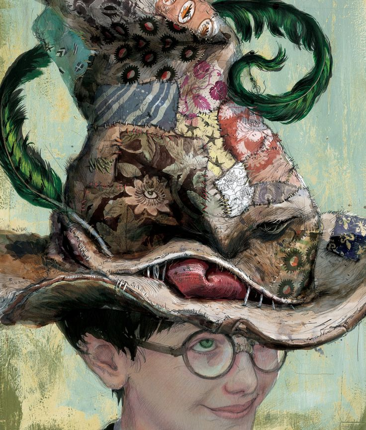 Il Cappello Parlante -  illustrazione di Jim Kay da Harry Potter and the Philosopher's Stone Ed.Bloomsbury