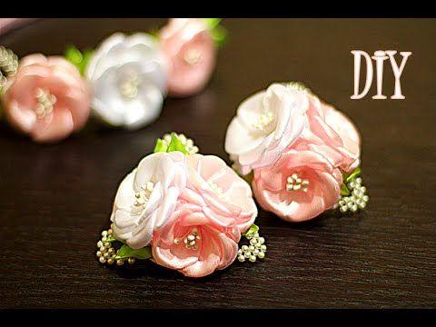 Цветы из Лент на резинках   Канзаши Мастер- Класс   KANZASHI