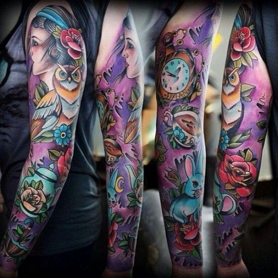 Colored Sleeve Tattoo Of Birds: Purple Women Full Sleeve Tattoo