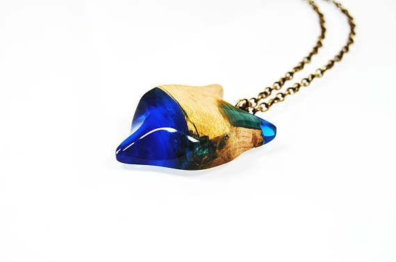 Necklace with wood and resin  dark blue fox Resin Wood
