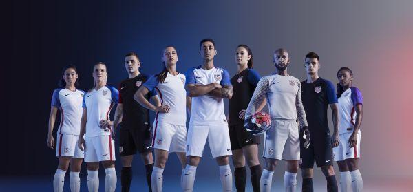 USA men's and women's Soccer teams wearing Nike 2016 Rio Olympics USA Soccer kits