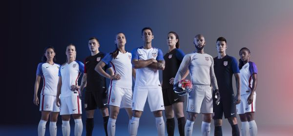 USA men's and women's Soccer teams wearing Nike 2016 Rio Olympics USA Soccer kits