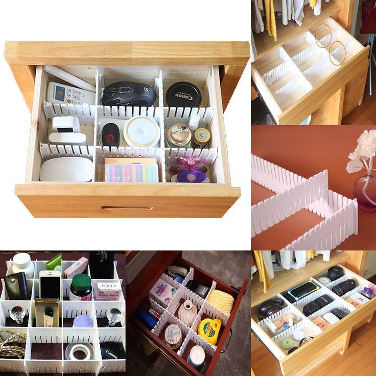 6/12/18/24Pcs Adjustable Drawer Clapboard Divider Cabinet Storage Organizer UK