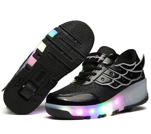 jazzy junior sneakers children roller shoes with wheels kids led light up wing shoes sneakers for