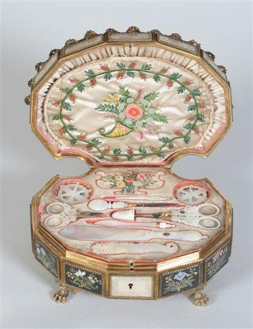 French Palais Royal sewing box with a full complement of tools, c. 1800