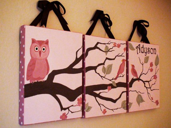 Set of 3 - CUSTOM Owl in Tree Painting On Canvas - 14 x 18 x 1.5 inch. $270.00, via Etsy.