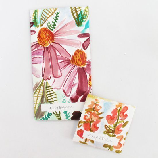 Harvest seeds from your summer garden and store them in these lovely watercolor seed packets.