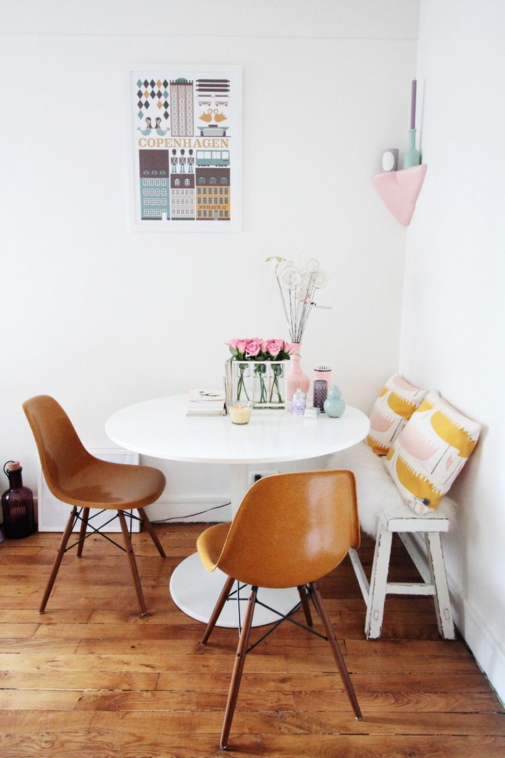 small dining space - a round table would be swell, i'll keep my eyes open for a top. i love the tiny bench here!