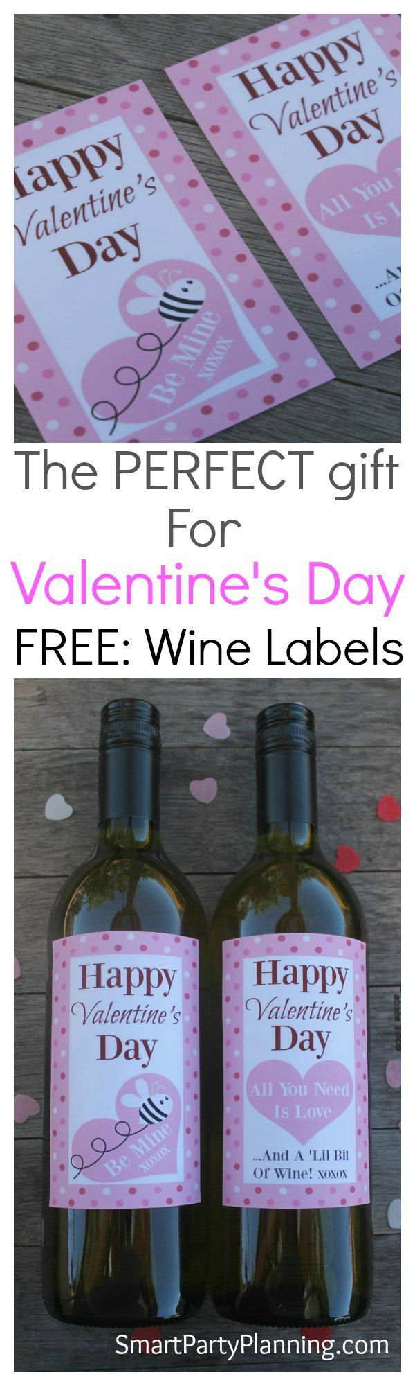 "Looking for that perfect gift for Valentines day gift that says ""I Love You"", but something that also won't break your family budget? These printable wine bottle labels make the perfect DIY gift and they are so easy to use. Simply print and attach to a favorite bottle of wine. Easy and affordable and perfect for your Valentine. #Winegift #Valentinesdayideas #Valentinesdaygift #Freeprintable"