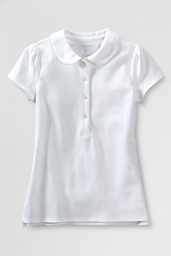 School Uniform Short Sleeve Knit Peter Pan Polo Shirt from Lands' End