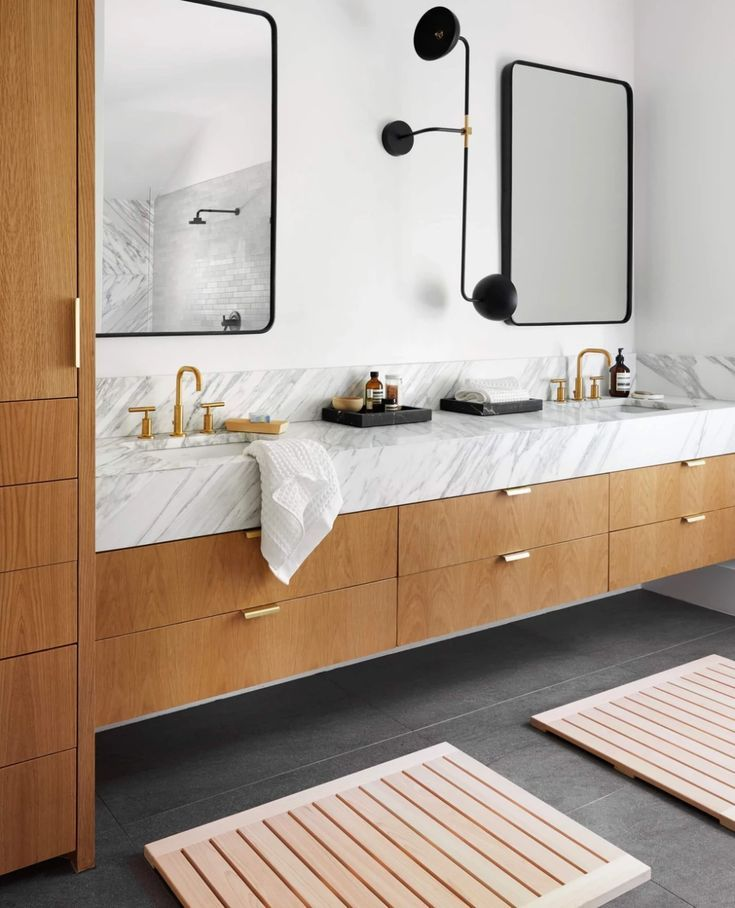 Wood And White Bathroom Ideas Black Trimmed Vanity Mirrors With Stunning Stone White Floating Bathroom Vanities Modern Master Bathroom Master Bathroom Vanity