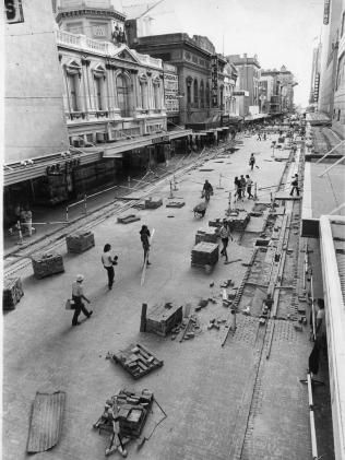 How Adelaide got Rundle Mall | Adelaide Now  Pavers are laid along Rundle St to turn it into a pedestrian mall, 1976.