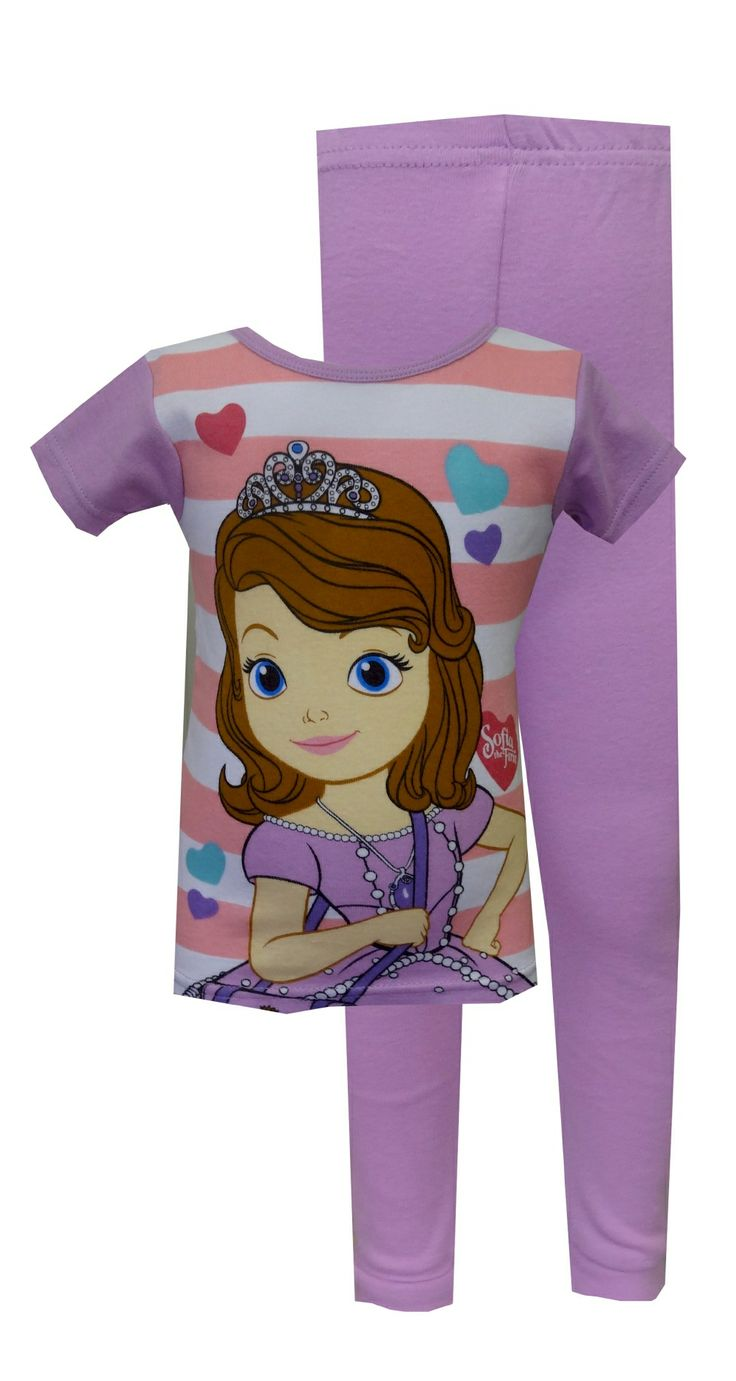 Disney Sofia The First Stripes & Hearts Toddler Pajama The colors of this 100% cotton pajama set make it just so sweet! Your li...