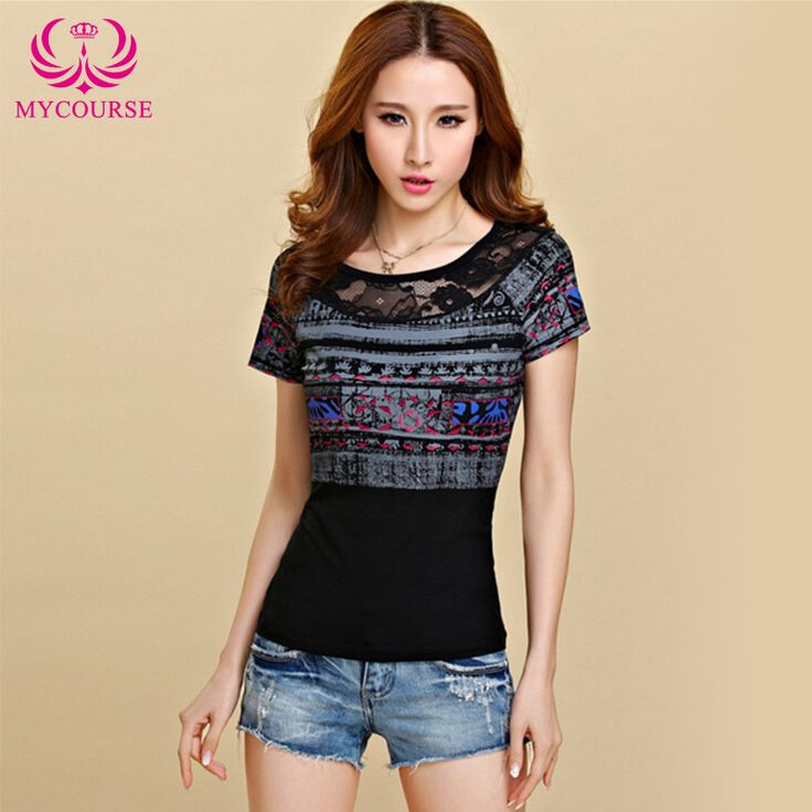 Find More T-Shirts Information about MYCOURSE Gentlewomen Print T Shirt Lace Patchwork T shirt Female Summer Short Sleeve O Neck Slim Casual Tops Camisetas Feminin,High Quality t-shirt 2012,China top dress shoe brands Suppliers, Cheap top designer t-shirts from MYCOURSE on Aliexpress.com