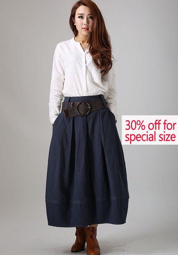 30% off skirt blue skirtLinen Skirt bud skirt maxi skirt