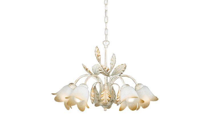 Ein Kronleuchter wie aus einem Märchen – das ist die Pendelleuchte Salerno. Verleihen Sie Ihrem Wohnzimmer romantischen Charme durch das verspielte Blütendesign in Weiß, das durch goldfarbene Akzente edel abgerundet wird. Ein besonderer Hingucker sind die Glocken aus weißem dekoriertem Glas mit champagnerfarbenen Rändern. Wie zarte Blüten schirmen sie die Leuchtmittel und spenden warmes Licht. #Kronleuchter #Pendelleuchte #Blumen #Lampen #Licht