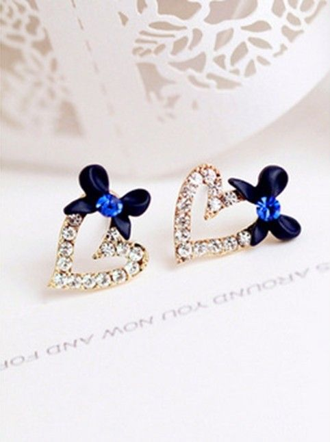Aliexpress.com : Buy High Quality Sparkling Heart Shaped Crystal Stud Earrings New Romantic Bow Heart Crystal Rhinestone Stud Earrings Women Blue Hot from Reliable earring rhinestone suppliers on Her jewelry box  ( Min. Order $7 )  | Alibaba Group