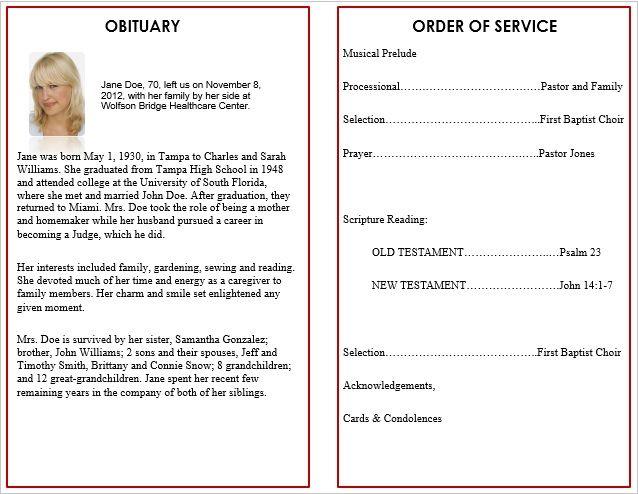 Free Memorial Service Program Template Funeral Program Template Memorial Service Program Funeral Program