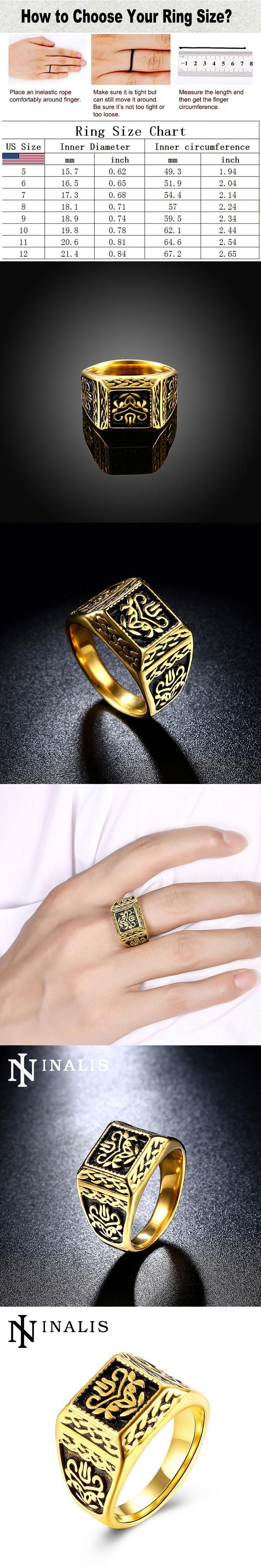 Luxury Gold-Color Stainless Titanium Steel Rings for Men Vintage Fashion Islam Ring High Quality Signet Ring Male Gift Size 9-11