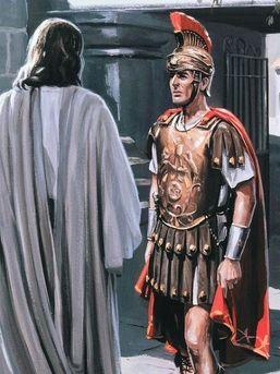 Centurion Corneille - Aujourd'hui, découvrons le Centurion de l'Évangile, si connu pour sa sollicitude pour un serviteur. - Voilà un centurion qui a le sens de l'autorité et des préséances. Il veut soigner son esclave malade et cherche à faire intervenir Jésus en sa faveur. Il a en effet entendu parler de lui et a confiance dans son pouvoir de guérison. Mais comment le convaincre ?