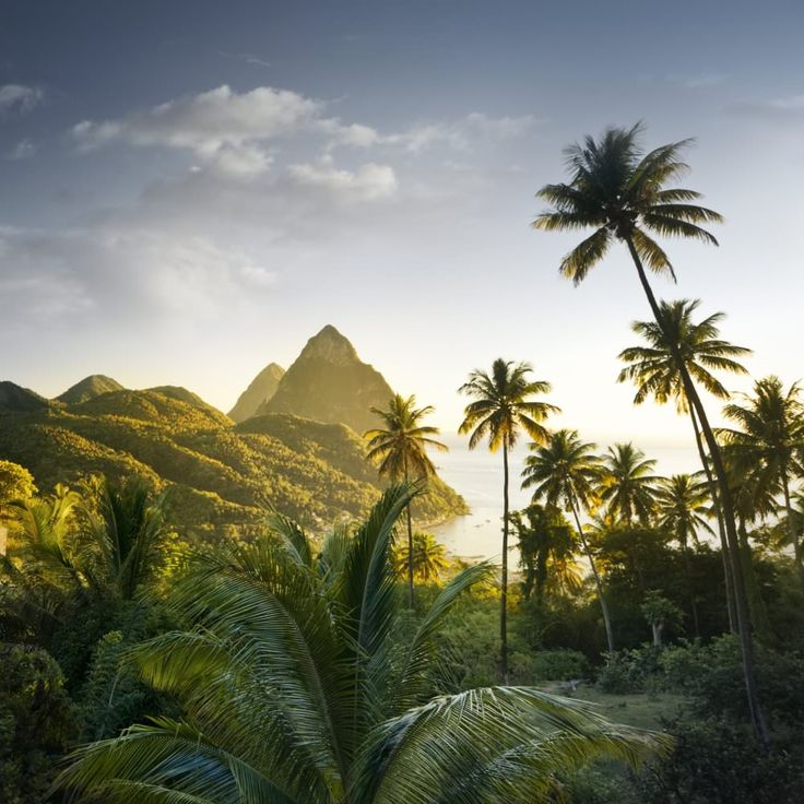 The Pitons, near Soufriere, St Lucia, Windward Islands, Caribbean.