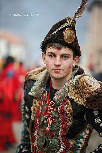 Bulgarian man at Kukeri festival in Breznik, Bulgaria, 18.11.2014