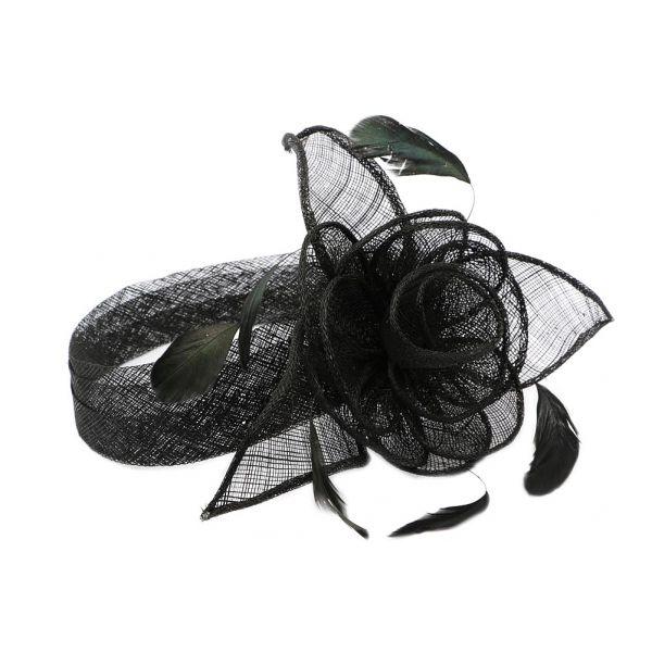 Chapeau Mariage Noire Serre tête Figue #chapeaumariage #mariage #mode #bonplan #look sur Hatshowroom.com
