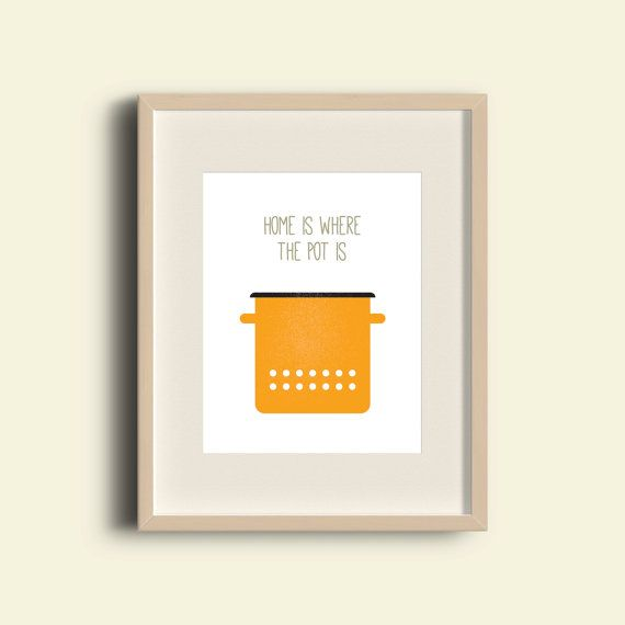 Home Is Where The Pot Is Print  Yellow Enamel Cooking by FatPen