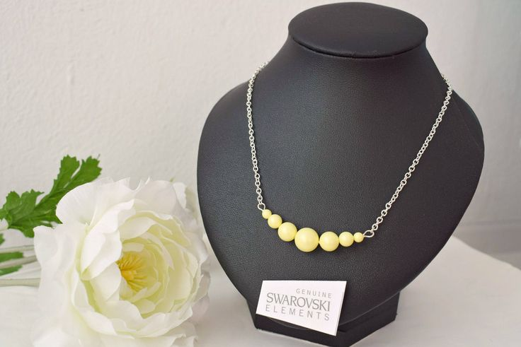 Yellow Bar Necklace - Pastel Jewelry - Pearl Bar Necklace - Swarovski Crystal Bar Jewelry - Beaded Bar Necklace - Pastel Wedding by SkadiJewelry on Etsy