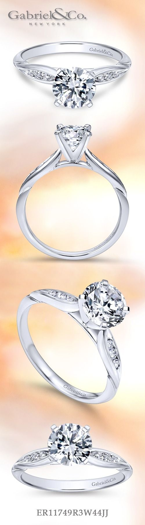 Gabriel & Co. - Voted #1 Most Preferred Fine Jewelry and Bridal Brand. Beautiful, classic and affordable White Gold Round Straight Engagement Ring.