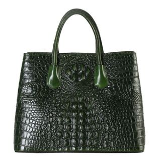 Rimen & Co. Leather Crocodile-pattern Large Tote Bag - Free Shipping Today - Overstock.com - 19680955 - Mobile
