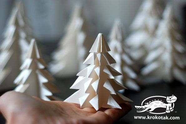 Folded Paper Fir Tree Christmas Decorations. From Lia Griffiths - must be a member to download templates.