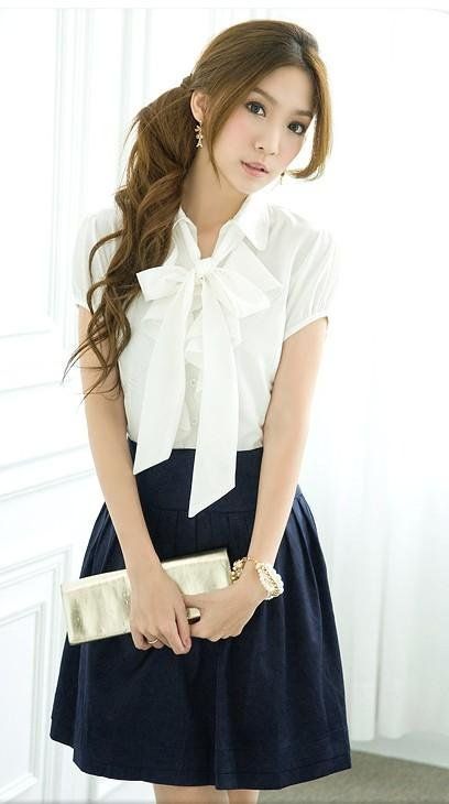 Smart, dressy, casual look. A thick waist band is always a good idea. And the bow on top screams feminine.