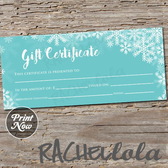 Winter blue snow Gift Certificate printable instant by Rachellola