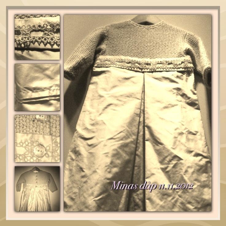 Dåpskjole med bryststykke i perlestrikket Babysilk fra DuStoreAlpakka og skjørt i silketaft. Nuppereller.