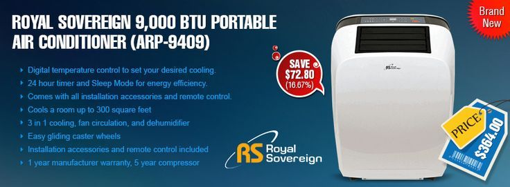 Treat yourself with #coolbreeze, buy #Royal #Sovereign 9,000 BTU #Portable #Air Conditioner (#ARP-9409)