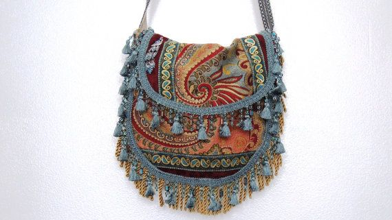 gypsy tapestry bag, hippie bag.bohemian bag, fringed bag, carpet bag