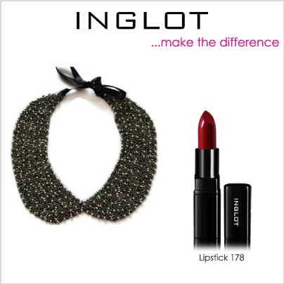 Set your collar with dark red lipstick 178