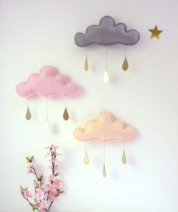Whimsical rain clouds mobile for the nursery.